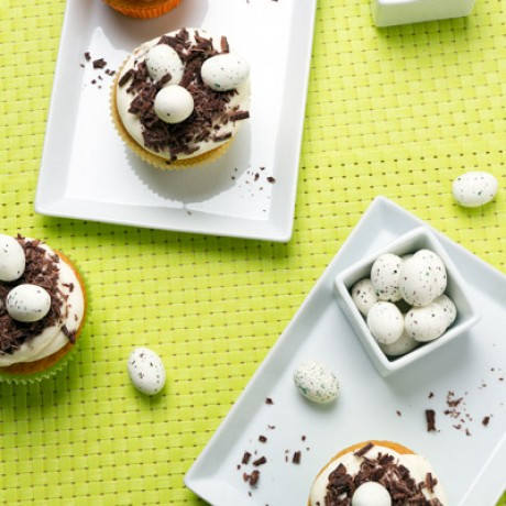 Vanilla cupcakes with Easter nests