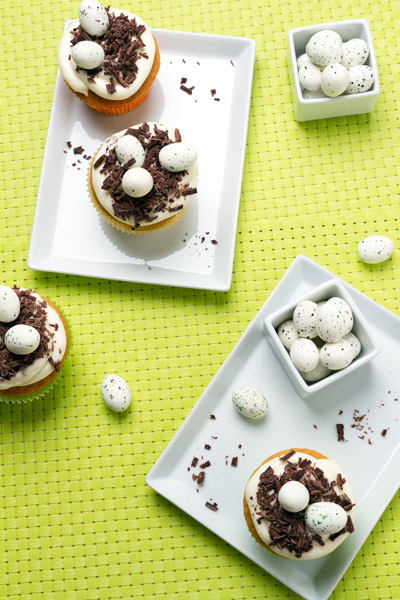 Vanilla cupcakes with Easter nest decoration