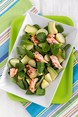 honey-mustard salmon on avocado-potato-field salad