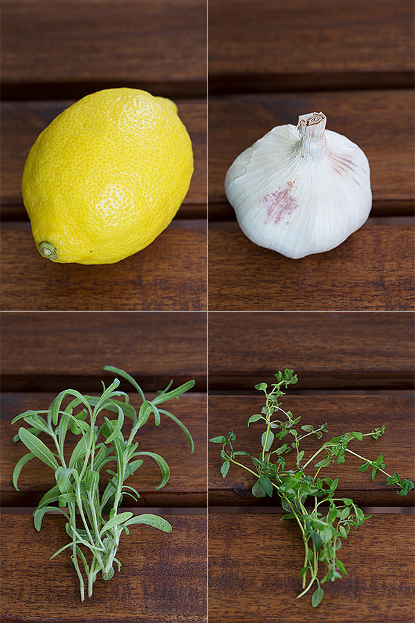 rosemary, thyme, lemon, garlic