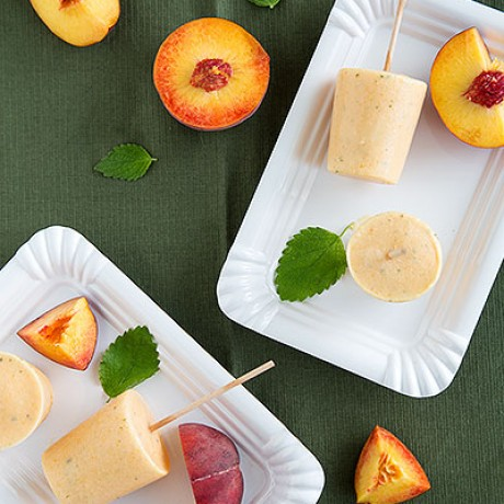 Time for a Dose of Summer: Peach-Lemon Balm-Popsicles
