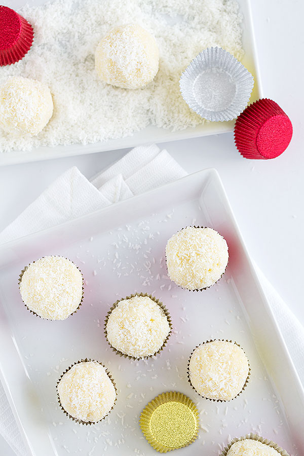 white chocolate truffles with lime and coconut