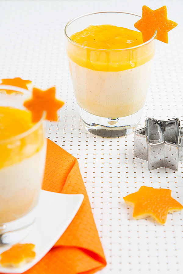 White chocolate orange mousse with orange sauce