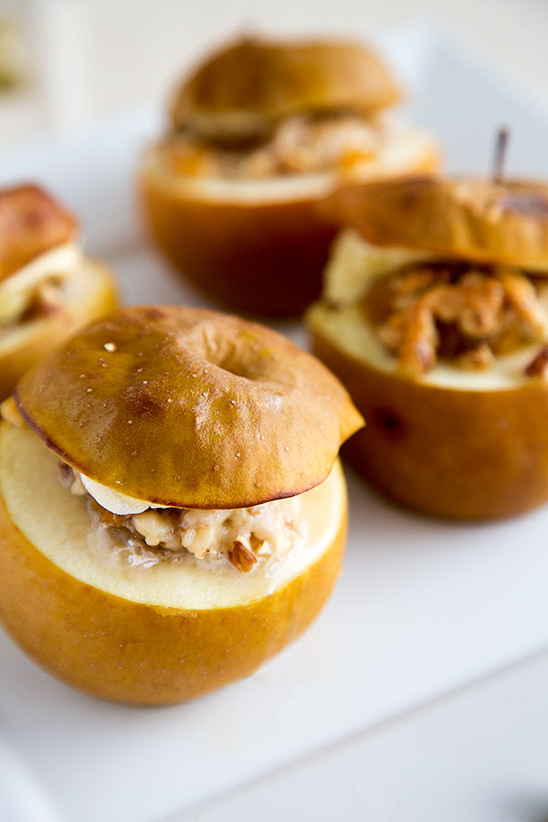 baked apple, filled with marzipan and nuts