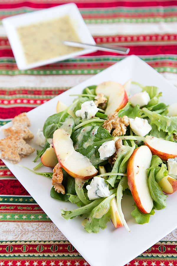 Apple walnut blue cheese salad with mustard vinaigrette