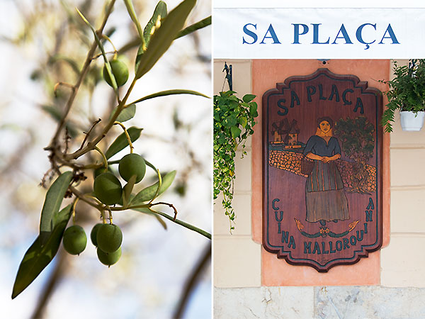 mallorca spain, olives, restaurant sign