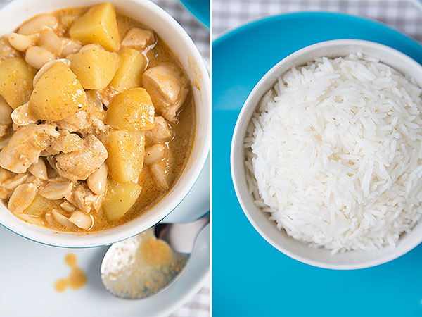 chicken massaman curry and rice