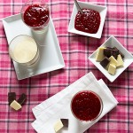 White and dark chocolate dessert with raspberry sauce