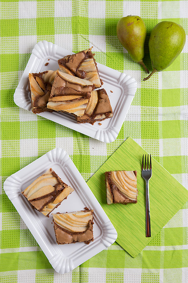 Pear walnut brownie