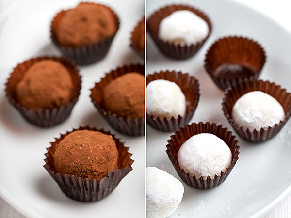 dark and white chocolate champagne truffles