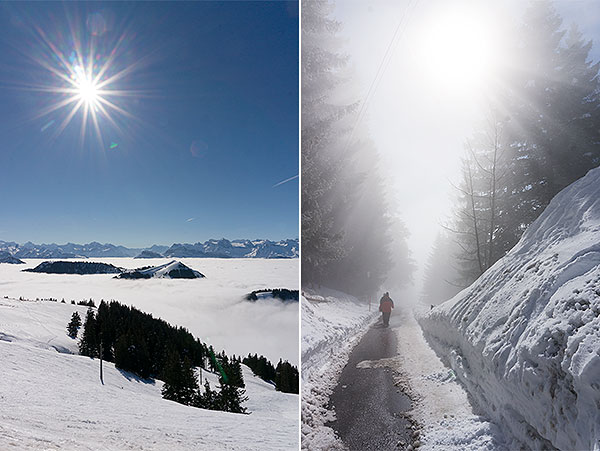 Rigi mountain, Switzerland - winter sun and high fog