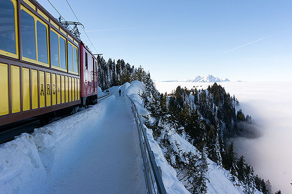 Rigi mountain, Switzerland - train near Rigi Staffelhoehe