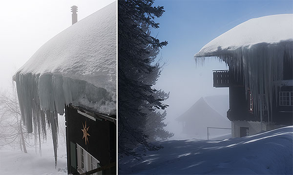 Rigi mountain, Switzerland - icicles on roofs
