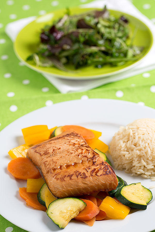 Teriyaki-lime-honey salmon @ strudelandcream.com