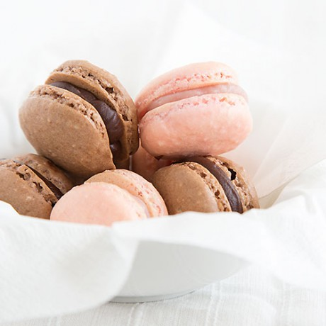 Raspberry-lime macarons