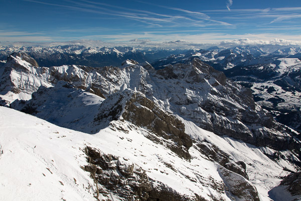 View from Saentis mountain in Eastern Switzerland