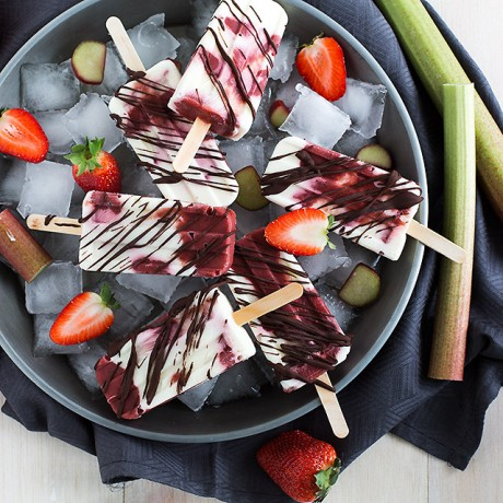 Roasted Rhubarb Strawberry Yogurt Popsicles