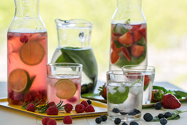 Fruit and herb flavoured waters   www.strudelandcream.com